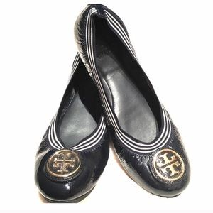 Tory Burch Navy Blue Patent Leather Ballet Flats